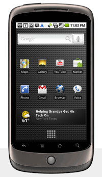 Nexus One phone with the Android OS